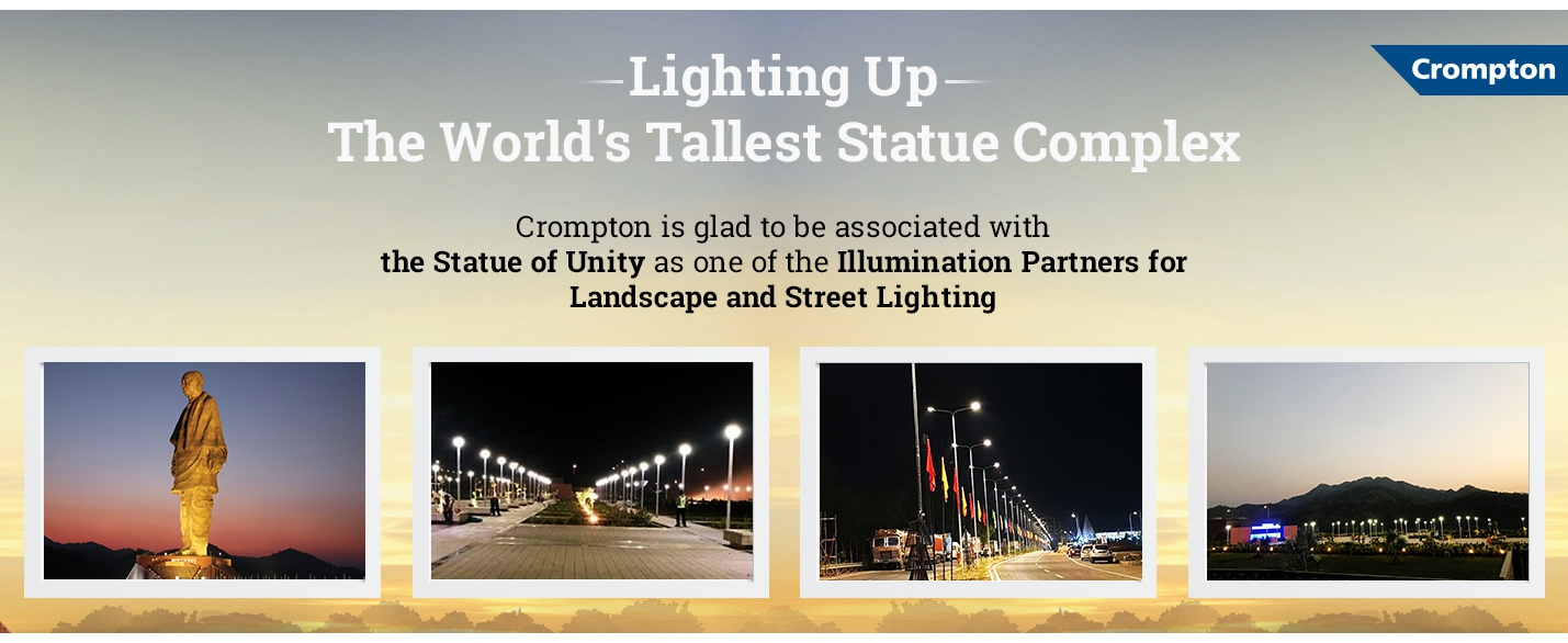 Statue of Unity Lighting up the worlds tallest statue complex Crompton Lighting